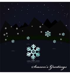Snowing on lake at night vector
