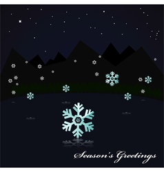 Snowing on the lake at night vector