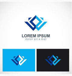 square geometry abstract business logo vector image