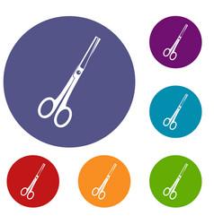 Steel scissors icons set vector