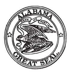 The great seal of alabama 1911 vintage vector