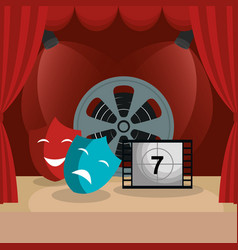 Theater courtain with cinema icons vector