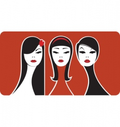 three beauties vector image