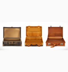 Travel open suitcase 3d icon set vector