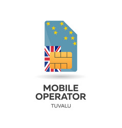 Tuvalu mobile operator sim card with flag vector