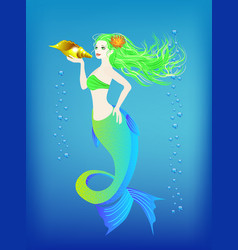 underwater world little mermaid and seashell vector image