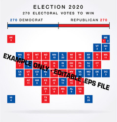 usa editable 2020 electorial college map squares vector image