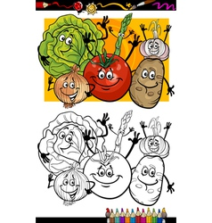 vegetables group cartoon for coloring book vector image