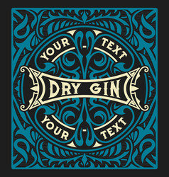 vintage label with gin design vector image