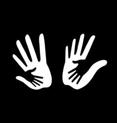 White caring hand logo set vector
