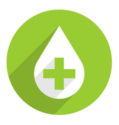 white drop icon first aid sign green cross vector image vector image