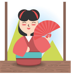 Woman with kimono and fun decoration design vector