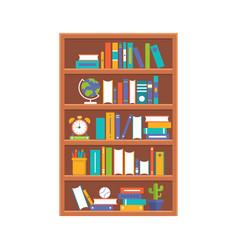 wooden book shelf flat design vector image