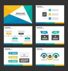 Yellow green blue presentation templates vector image vector image