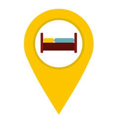 Yellow map pointer with symbol hotel icon isolated vector