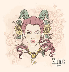 Zodiac of capricorn as girl with vector