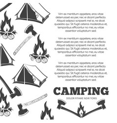 camping poster with fire axes tent vector image vector image