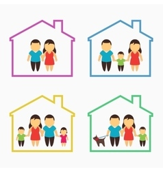 Family home icons set vector image vector image