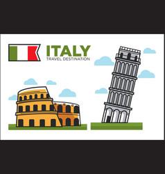 Italy culture symbols or italian travel famous vector