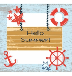 Summer Card with Navigation Wheel vector image vector image
