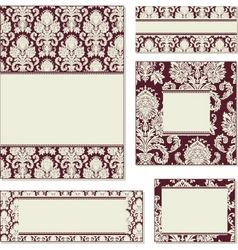 vector ornate damask frame set vector image vector image