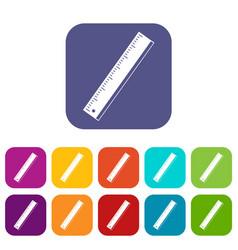 yardstick icons set flat vector image