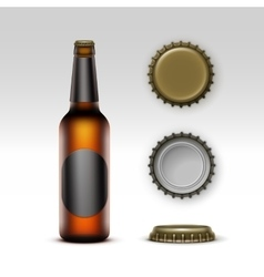 Brown Bottle Beer with Black label and Set of Caps vector image vector image