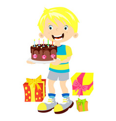 children birthday boy with gift vector image vector image