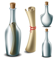 Message in the bottle set vector image