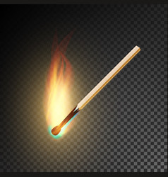 realistic burning match burning match on vector image vector image