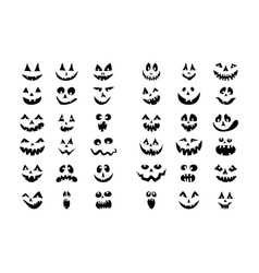 Scary Halloween 36 pumpkin faces icons set vector image vector image