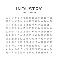 Set line icons of industry vector