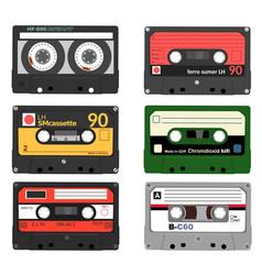 set of retro audio cassettes tape and audio vector image