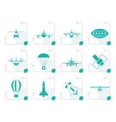 stylized different types of aircraft vector image
