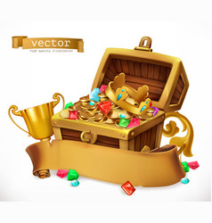 treasure chest 3d icon vector image vector image