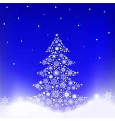 Tree from snowflakes vector image vector image