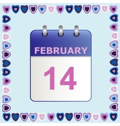 Valentine s Day calendar icon in frame of hearts vector image vector image