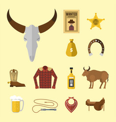 wild western cowboy icons rodeo equipment vector image