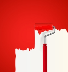 Background of red roller painting the wall vector image