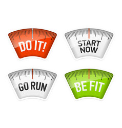 Bathroom scales displaying do it start now go run vector