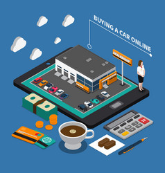 buying car online isometric composition vector image vector image