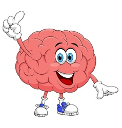 Cute brain cartoon character pointing vector image vector image