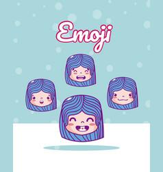 cute girls emojis vector image