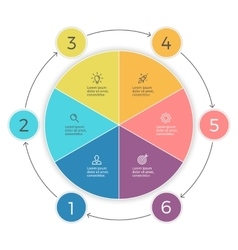 Pie chart Six steps infographics design vector image vector image