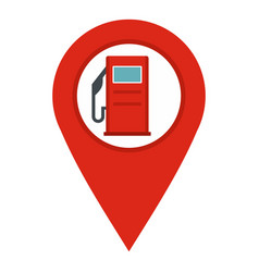 red map pin with gas station sign icon isolated vector image
