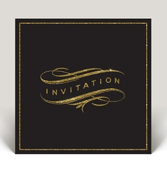 Template invitation with glitter gold flourishes vector image vector image