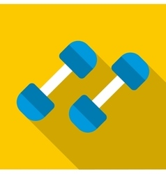Blue dumbbells icon flat style vector image