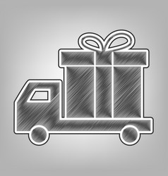 delivery gift sign pencil sketch vector image vector image
