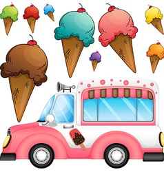 Different flavor ice cream and a truck vector image vector image