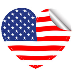 flag of america in heart shape vector image